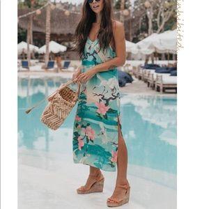 Dresses & Skirts - Nightingale Aqua Pool Green Pink Floral Slip Dress